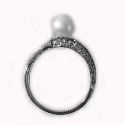 Bague perles et diamants or blanc réf. 1107