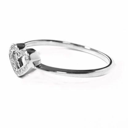 Bague coeur or blanc et diamants réf. 1121