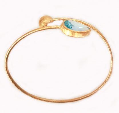 Bracelet esclave or jaune ciselé Topaze poire réf. 1412