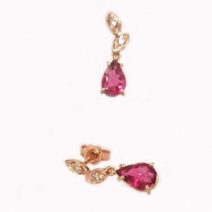 Boucles d'oreilles Tourmaline or rose réf. 1430