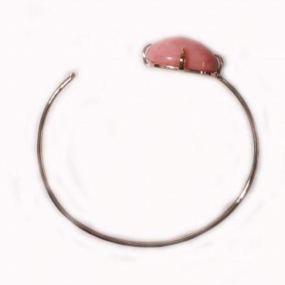 Bracelet jonc ouvert or rose et Opale cabochon Réf. 1439