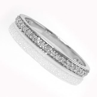 1/2 alliance or blanc et diamants Réf. 1204