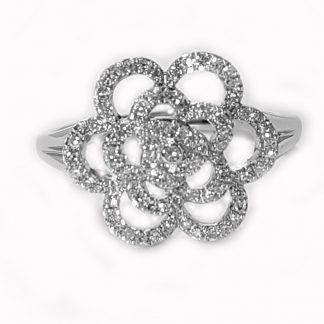 Bague Fleur diamants or blanc réf. 1216