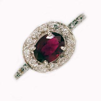 Bague Rubis or blanc et diamants réf. 1392