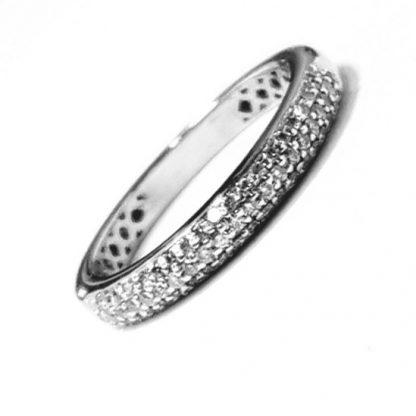 Bague jonc diamants et or blanc  Réf. 1357