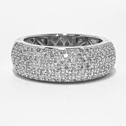 Bague jonc or blanc et diamants Réf. 1268