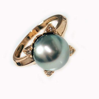 Bague perle Tahiti diamants or jaune Réf. 685