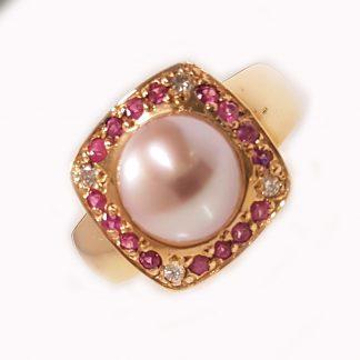 Bague perle rose et saphirs Réf. 666