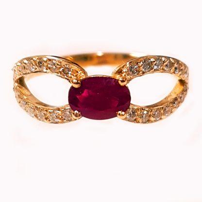 Bague rubis et diamants or jaune Réf.1443