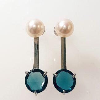 Boucles d'oreilles Topaze Blue London or blanc Réf. 1466