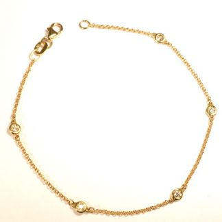 Bracelet or jaune 5 diamants réf. 1302