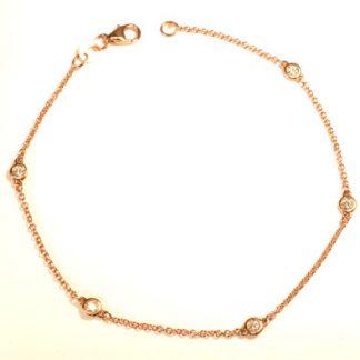 Bracelet or rose 5 diamants réf. 1303