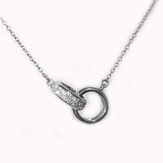 Collier 2 anneaux or blanc et diamants Réf. 1169