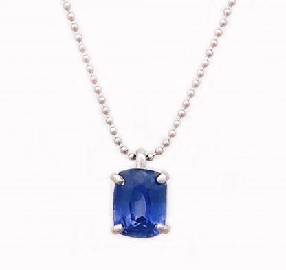 Collier Saphir bleu taille coussin or blanc réf. 1245