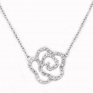 Collier fleur diamants or blanc réf. 1137