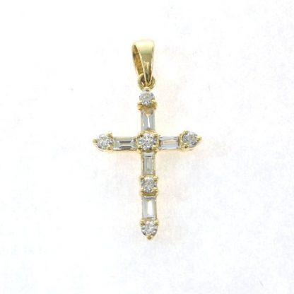 Croix brillants baguettes or blanc Réf. 559