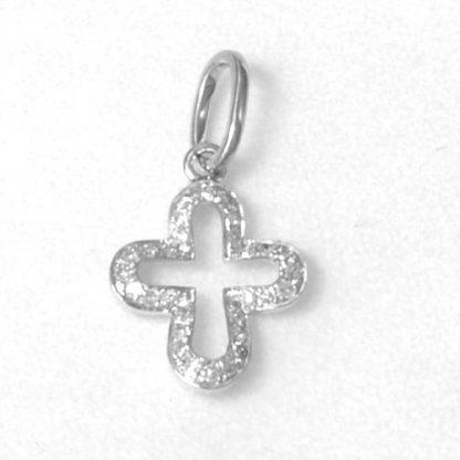 Croix or blanc et diamants réf. 1208