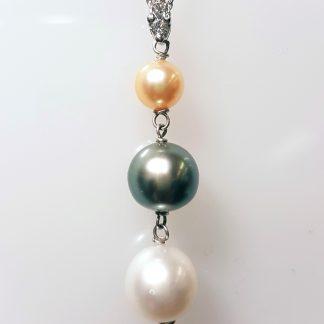 Pendentif 3 perles diamant or blanc Réf. 508