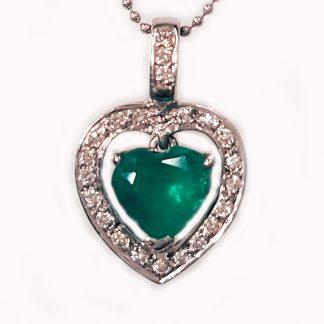 Pendentif Emeraude coeur diamants or blanc réf. 1029