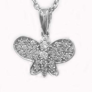 Pendentif Papillon diamants or blanc Réf. 743
