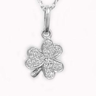 Pendentif Trèfle et diamants or blanc Réf. 1220