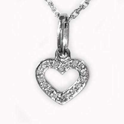 Pendentif coeur or blanc diamants Réf. 1226