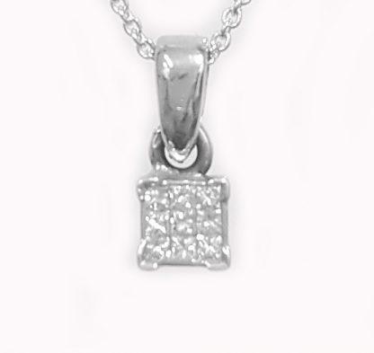 Pendentif diamants princesses or blanc réf. 838