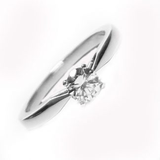 Solitaire 4 griffes or blanc et diamant  Réf. 1036
