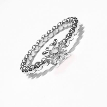 Solitaire or blanc et diamant Réf. 1236
