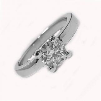 Solitaire or blanc et diamant réf. 1026